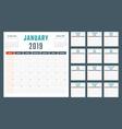 calendar for 2019 starts sunday calendar vector image vector image