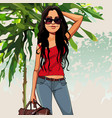 cartoon puzzled woman with a bag in the nature vector image vector image