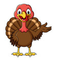 cartoon smiling turkey bird presenting vector image vector image