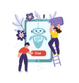 chatbot mobile concept with man pushing button vector image vector image
