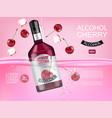 cherry liquor bottle realistic mock up product vector image vector image
