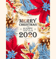 christmas design with blue pine branch vector image vector image