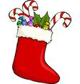 christmas sock vector image vector image