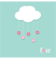 Cloud hanging rain button drops Dash line Love vector image vector image