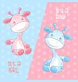 cute cartoon giraffe boy and girl vector image