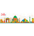 delhi india skyline with color buildings vector image vector image