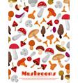 delicacies fresh edible mushrooms poster vector image vector image