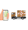 delivery truck and smartphone with navigation app vector image