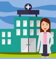 doctor female staff professional hospital building vector image vector image