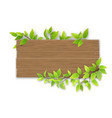 empty wooden sign with tree branch vector image vector image