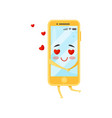 enamored humanized smartphone red hearts flying vector image