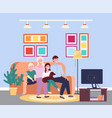 family evening at tv four member family vector image vector image