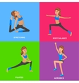 Fit woman stretching her leg to warm up - isolated vector image