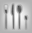 fork spoon and knife sign pencil sketch vector image vector image