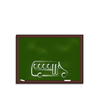 Green chalkboard with painting school bus vector image
