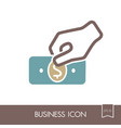 hand holding money or money in hand outline icon vector image vector image