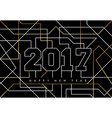 Happy new year 2017 gold line art greeting card vector image vector image