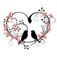 heart with birds and flourishes vector image