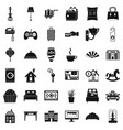 hotel room icons set simple style vector image vector image