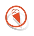 Ice cream sign sticker orange vector image