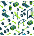 isometric gym objects background or pattern vector image