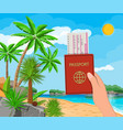 landscape palm tree on beach documents vector image