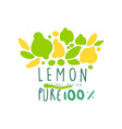 lemon pure 100 percent logo natural product badge vector image vector image