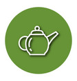 line icon of brewing teapot with shadow eps 10 vector image vector image