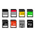 memory cards in on white background vector image vector image