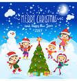 Merry Christmas And Happy New Year 2017 Winter fun vector image vector image