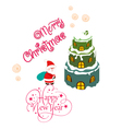 Merry christmas card with santa claus and vector image vector image