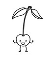 monochrome silhouette of cherry caricature with vector image vector image