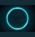 neon glowing circle green frame for banner on dark vector image vector image