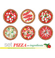 pizza cartoon set vector image vector image