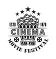 popcorn and 3d glasses emblem for cinema vector image