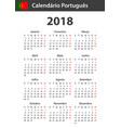 portuguese calendar for 2018 scheduler agenda or vector image