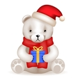 Realistic 3d Teddy Bear cub sit with new year gift vector image vector image