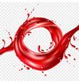 realistic red tomato juice splash paint vector image vector image