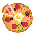 salami and egg pizzaprint vector image vector image