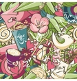 seamless texture colored spring doodles vector image vector image