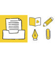 set of educations and sciences doodle icons vector image vector image