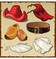 Set of womens clothing in vintage style six items vector image vector image