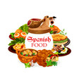 spanish food dishes seafood fish and meat vector image vector image