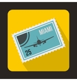 Stamp with plane and text Miami inside icon vector image vector image