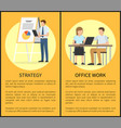 strategy and office work set vector image vector image
