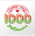 thank you 1000 followers vector image