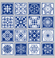 tile patterns with flowers for bath or kitchen vector image