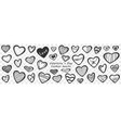 valentines day hearts doodle set vector image