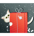 White Christmas cat vector image vector image
