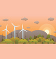 wind turbines and sunset in evening forest on vector image vector image